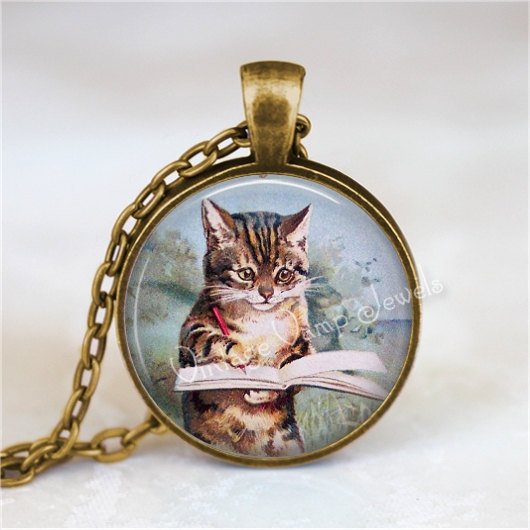 WRITER Pendant Necklace, Cat Writing in Book, Kitten Jewelry Author Glass Photo