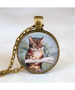 WRITER Pendant Necklace, Cat Writing in Book, Kitten Jewelry Author Glas... - $12.95