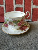 Paragon Golden Emblem Bone China Pink Rose Cup & Saucer Made in England used  - $33.48