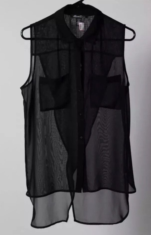 NWT Kenneth Cole Black Sleeveless Blouse Size L