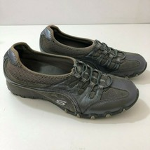 SKECHERS Sassies Ella Gray Leather Slip On Sneakers Shoes Womens US Size 8 - $44.50