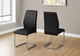 2 Piece Dining Chair Set Metal Living Room Leather Look Chrome Black U S... - €208,05 EUR