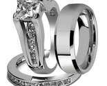 Princess Cut Diamond White Gold Plated 925 Silver Men's Women's Trio Ring Set  - $2.449,53 MXN
