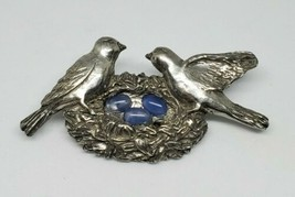 Vintage Seagull Pewter Birds Nest Blue Eggs Brooch Canada 1992 - $20.00