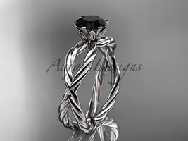 Platinum rope engagement ring with a Black Diamond center stone RP870 - $1,485.00