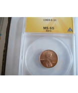 1969-S , Lincoln Penny , ANACS , MS 65 , Red - $34.00