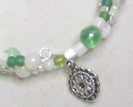 Mother of Pearl & Green Glass Memory Wire Wrap Bracelet  Medium image 2
