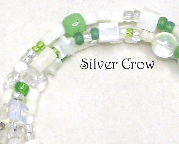 Mother of Pearl & Green Glass Memory Wire Wrap Bracelet  Medium image 3