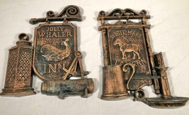 PAIR VINTAGE DART IND TAVERN BAR PUB WALL PLAQUES WHITE MARE JOLLY WHALER - $26.72