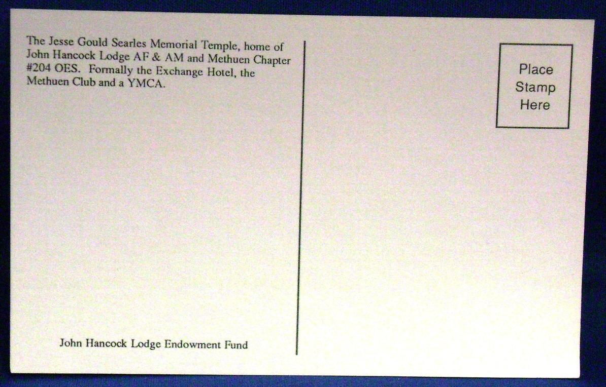 Postcard~Methuen,Mass/MA~John Hancock Masonic Lodge~AF&AM~Searles~YMCA~Hotel