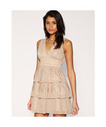ASOS Lipsy Loves Pixie Dress Lott Beige Feather Tiered Skirt  Party Dres... - $46.50