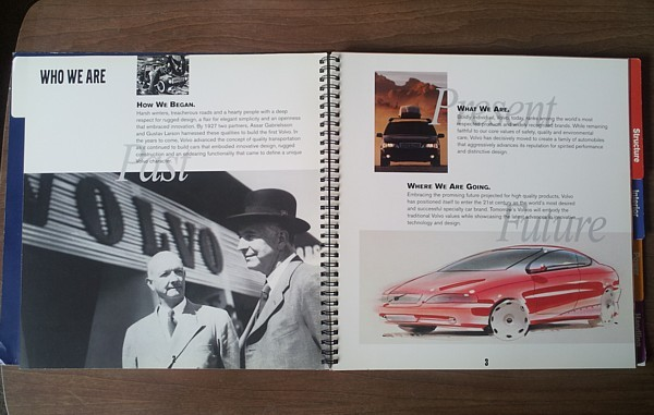"""VOLVO spiral-bound Brand BOOK catalog brochure """"What Makes a Volvo"""" 1999 US CAN"""