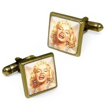 Vintage Marilyn Monroe Hollywood Glamour Pin-up Bronze Glass Cufflink Se... - $32.39