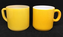 vintage Coffee Cup Mug Lot of 2 Sunflower Gold Yellow Milk Glass C & D h... - $18.70