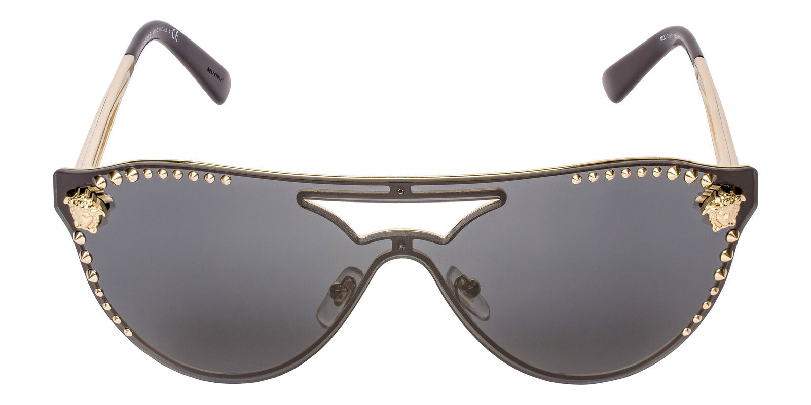 842120b7a4e2 Versace VE2161 125287 42mm Gold Black Frame Gray Lens Aviator Sunglasses -  $146.52