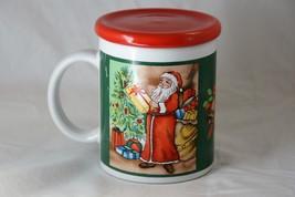 Christmas Holiday Santa Mug with Lid Ceramic Bells - $5.88