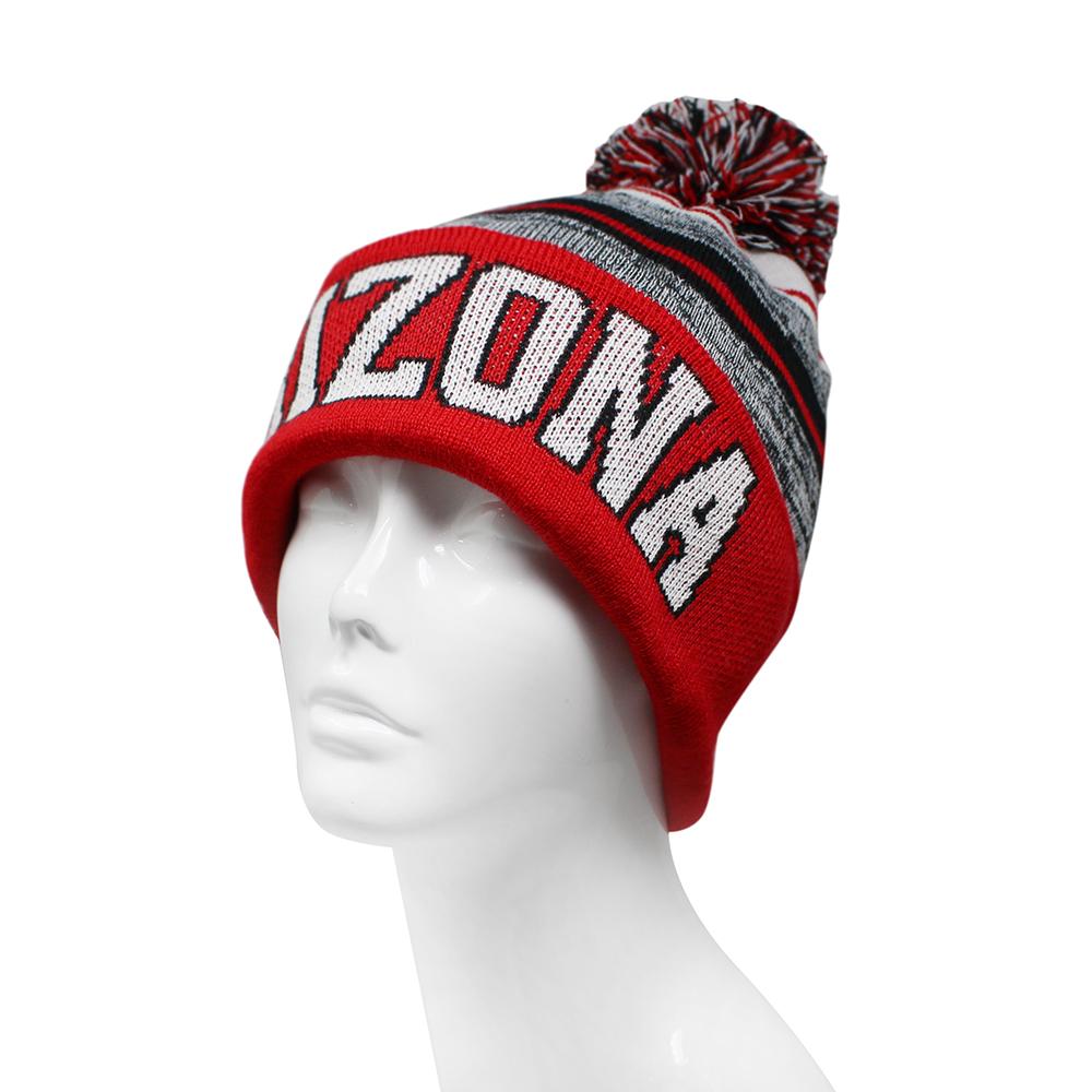 Arizona Blended Colors Men's Winter Knit Pom Beanie Hat (Red/White) image 2