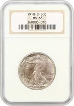 1918-S 50c NGC MS63 - Scarce Early Walker - Walking Liberty Half Dollar - $1,387.10
