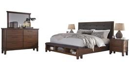 Ashley Ralene 5PC Bedroom Set Cal King Upholstered Storage - Brown - $2,715.19