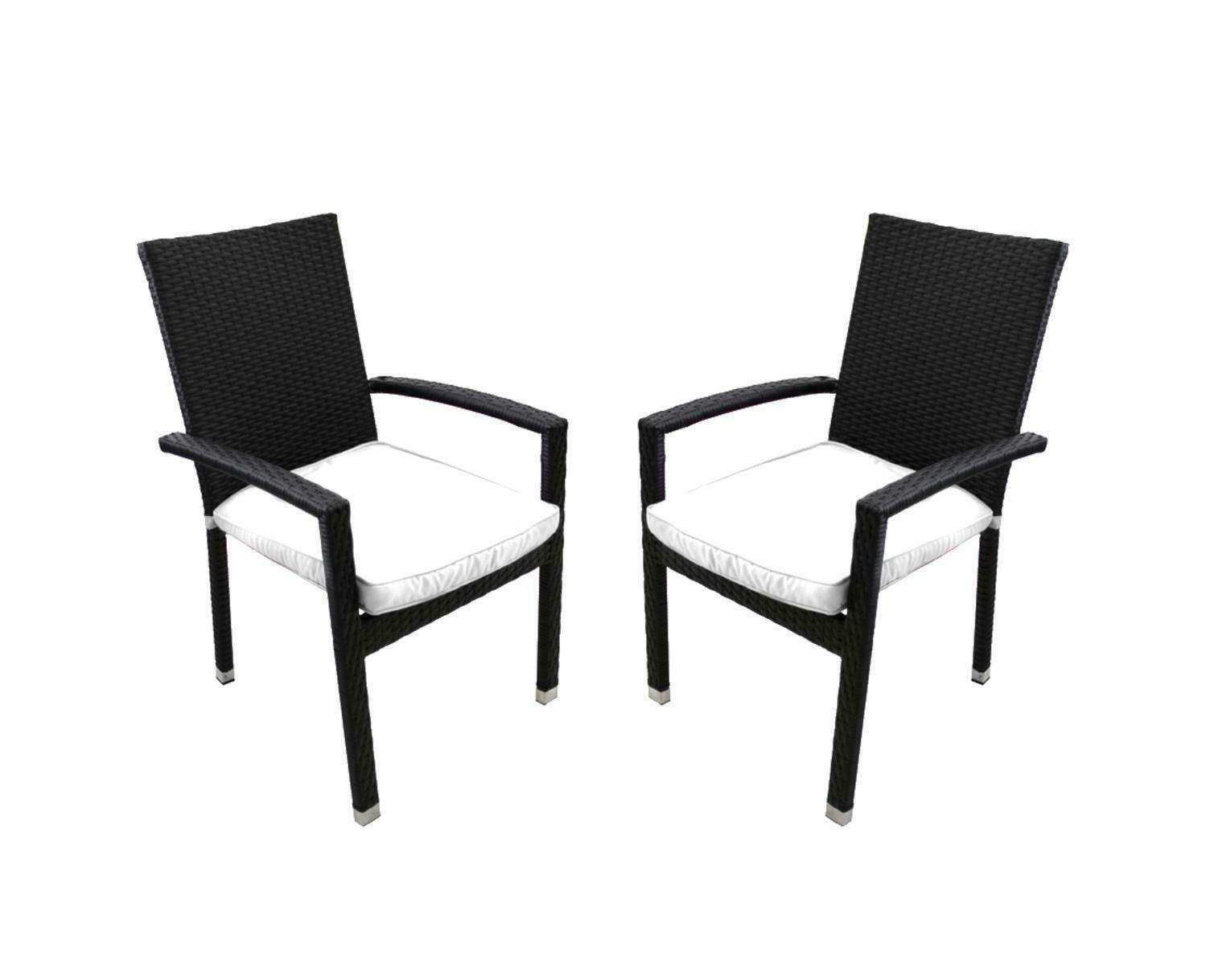 CC Outdoor Living 2 Black Wicker Patio Furniture Dining Chairs White Cushions
