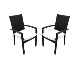 CC Outdoor Living 2 Black Wicker Patio Furniture Dining Chairs White Cus... - $201.70