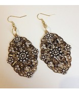 Antique Gold Pearl Rhinestone Earrings Metal Filigree Handmade Pierced D... - $48.00