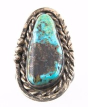 Vintage Women's Silver & Freeform Turquoise Ring (Size 4) Blue-Green - $64.30