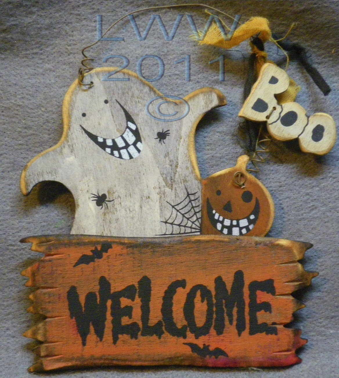 Welcome Ghost Boo Jack-o-lantern Happy Halloween Primitive Sign Ornament