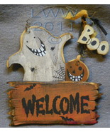 Welcome Ghost Boo Jack-o-lantern Happy Halloween Primitive Sign Ornament  - $4.99