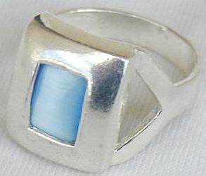 Light blue cat eye ring