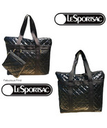 LeSportsac Black Crinkle Patent Large Quilted Travel Tote + Cosmetic Bag... - $124.80