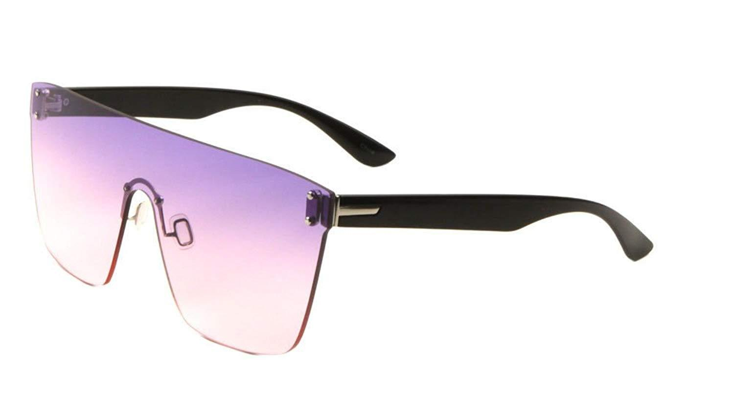 fa7d798aae ... Flat Top Oversized Rimless One Piece Shield Sunglasses Black   Silver  Frame