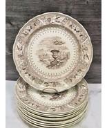 Set of 10 RARE Brown Staffordshire Transferware Stone Ware Canova Dinner... - $247.50