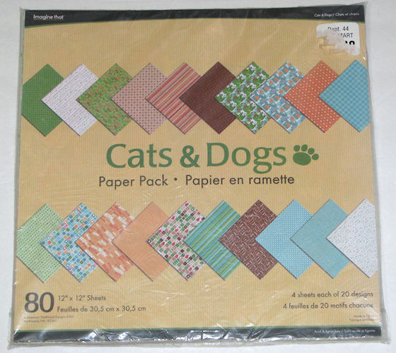 Cats & Dogs Themed 12x12 Scrapbooking Paper Pack 80 Sheets