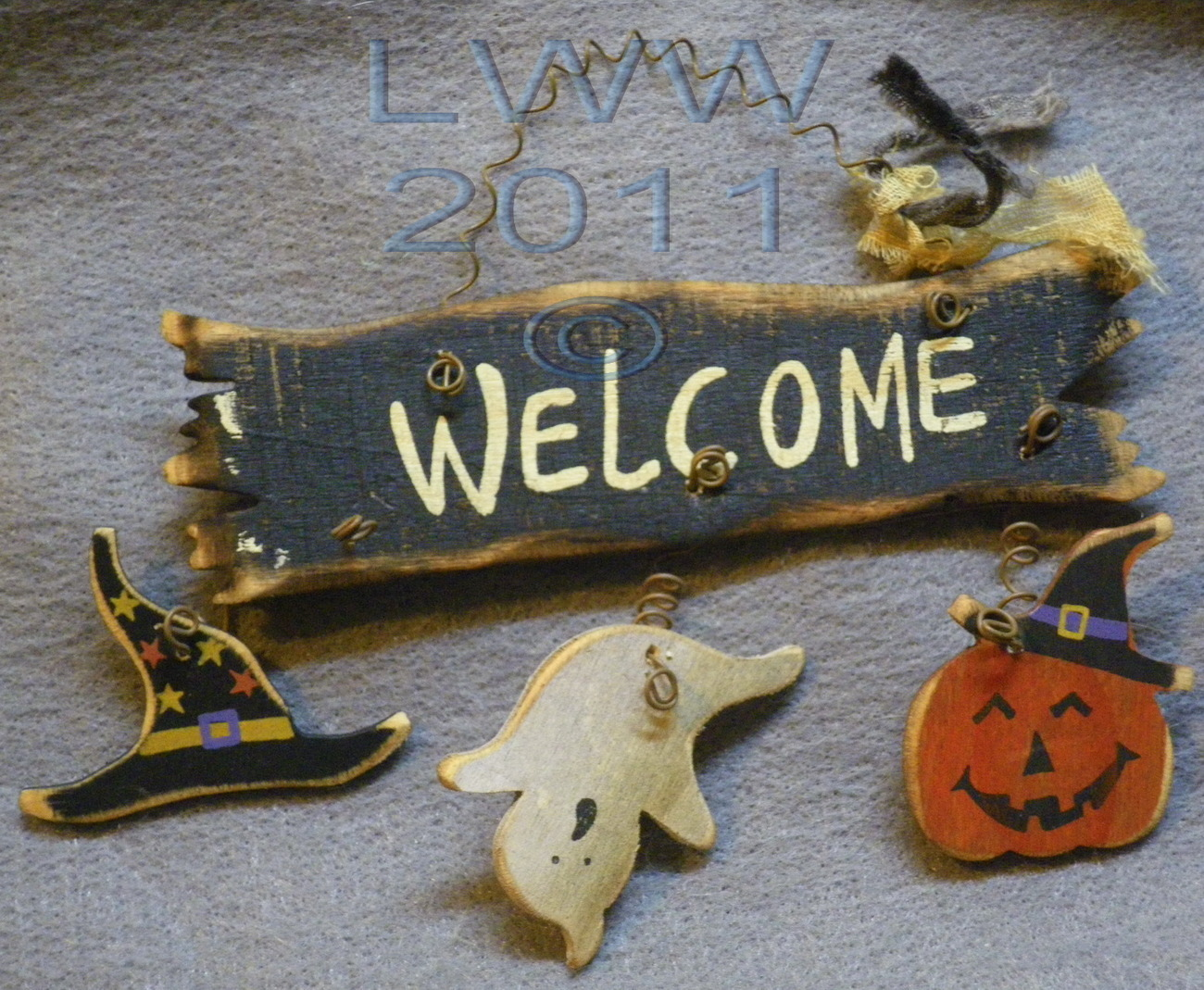 Small Ghost Jack-o-lantern Witch Hat Welcome Halloween Primitive Sign Ornament