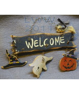 Small Ghost Jack-o-lantern Witch Hat Welcome Halloween Primitive Sign Or... - $4.99