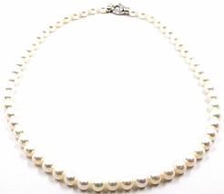 Collier, Mousqueton or Blanc 18K, Perles Blanches 7-7.5 mm, Haute Qualité image 1