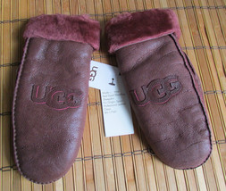 UGG Gloves Classic Logo Mittens Bomber Prune L/XL NEW - $185.00