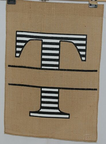 Kate Winston Brand Brown Burlap Monogram Black White T Garden Flag