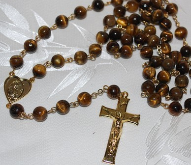 Brown Tiger  Eye Rosary- Genuine Natural Beads