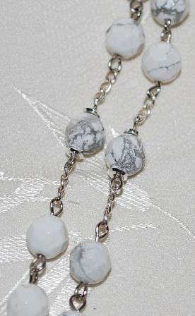 White & Gray 8mm Howlite Rosary Beads