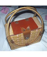 1950s-1960s Straw Woven Box Purse,Plastic Handles,Leather Ac - $148.75