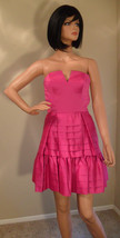 Nwt Betsey Johnson Fuchsia Pink Satin Pleated Skirt Dress Sz 2 (Make An Offer) - $190.67