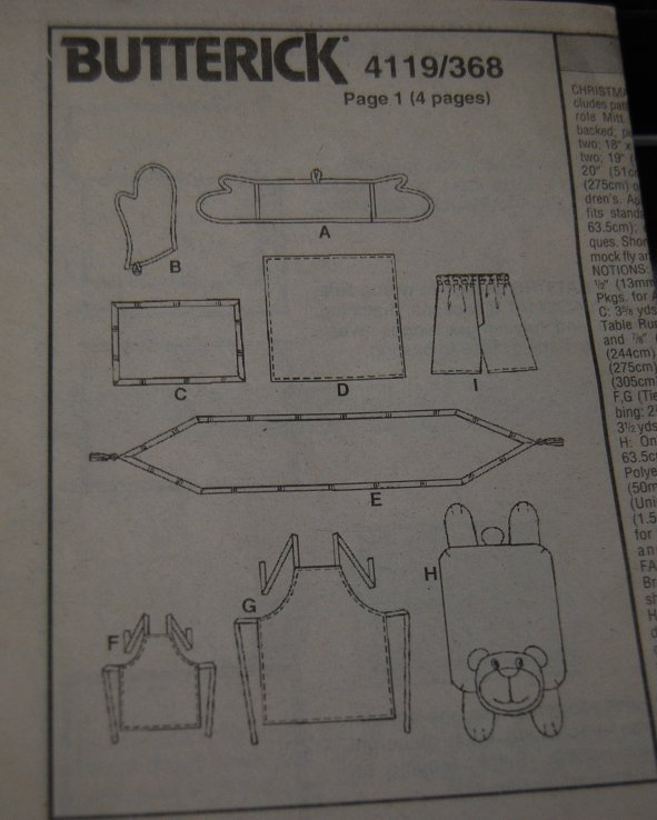 Pattern 4119 Kitchen Items and Floor Pillow Bear