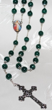 10MM Green Malachite Rosary Beads- A RARE FIND!