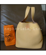 AUTH USED Hermes PICOTIN PM Bag Taurillon Clemence SABLE Mustard with PHW - $1,900.00