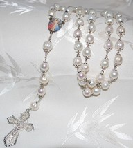 10mm White Freshwater Pearl Rosary Beads - RARE FIND! - $79.95