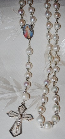 10mm White Freshwater Pearl Rosary Beads - RARE FIND!