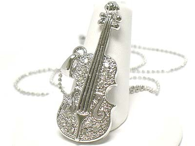 White Gold Plating Swarovski Crystal Stud Music Theme Violin Pendant Necklace