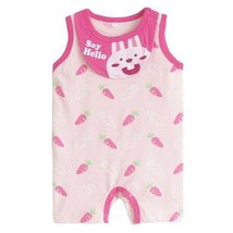 Cute Sleeveless Infant Bodysuit Toddlers Onesies Baby Romper With Bib Carrot